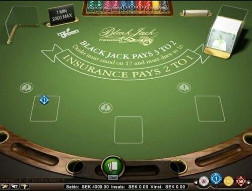 Grönt Blakjack-bord från ett spel online