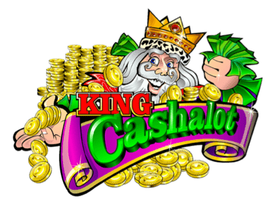 Logo för King Cashalot-spelautomat med en glad kung som håller upp massor av pengar