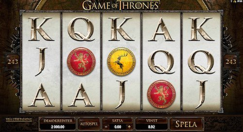 Game of Thrones videoslot Casinon