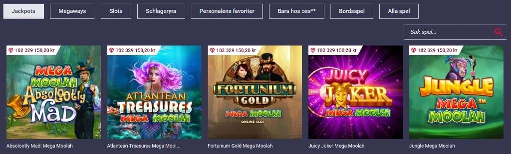 Urval av tillgänglia jackpot-spel hos Maria Casino tillsammans med andra tillgängliga spelkategorier