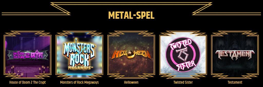 """några tillgängliga speltitlar på Metal casino under kategorin """"Metal spel"""""""