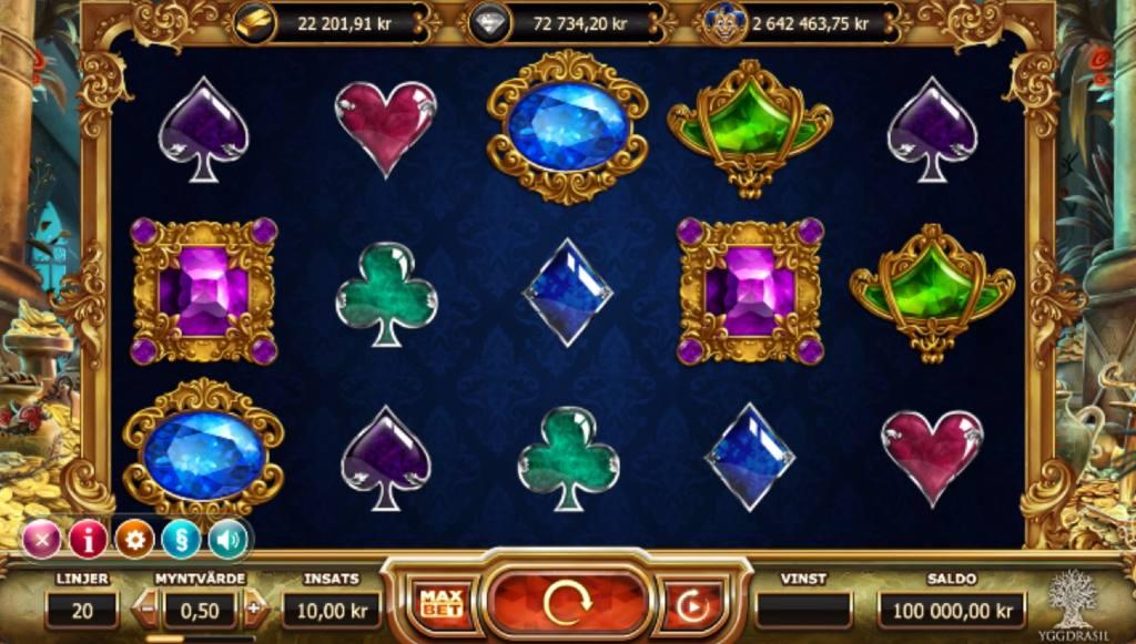 Spelplanen för sloten Empire Fortune visar glänsande symboler av olika slag