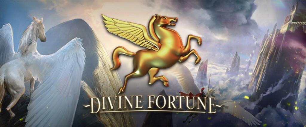 logon för Divine Fortune med en vit pegasus i bakgrunden som ser över ett fantasilandskap