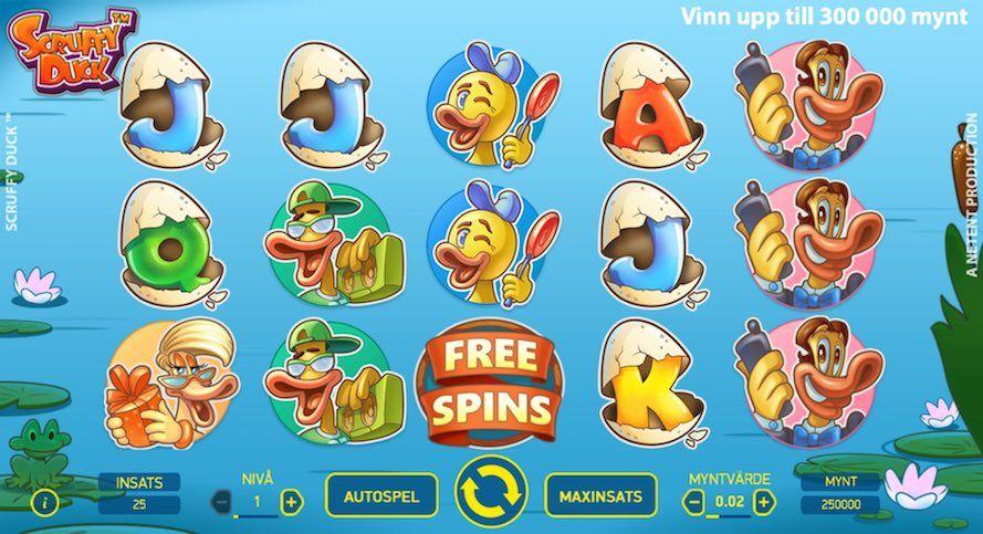 Spelplanen för Scuffy Duck visar symboler i form av olika tecknade ankor och bokstäver med äggskal över sig