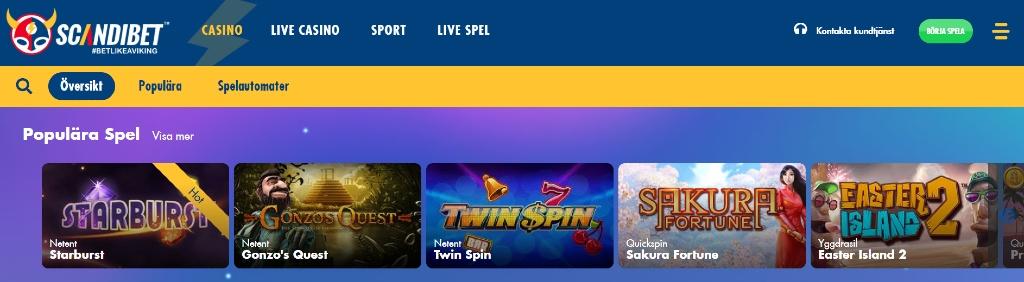Scandibets hemsida som visar en överblick av deras tillgängliga spel och huvudmenyn för att navigera sig runt sidan