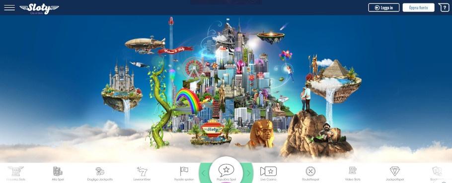 Hemsidan för Sloty casino visar ett par som håller om varandra på en klippa över molnen och ser över ett fantasiscenario med bland annat flygande öar med olika spelkaraktärer