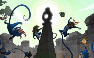 Flera tecknade blåa apor som hoppar runt vid gamla ruiner