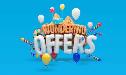 Wonderino Casino-erbjudande med ballonger och raketer