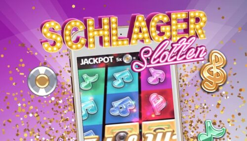 Marknadföring för Schlager slotten med glitter och ett jackpottspel på en mobil