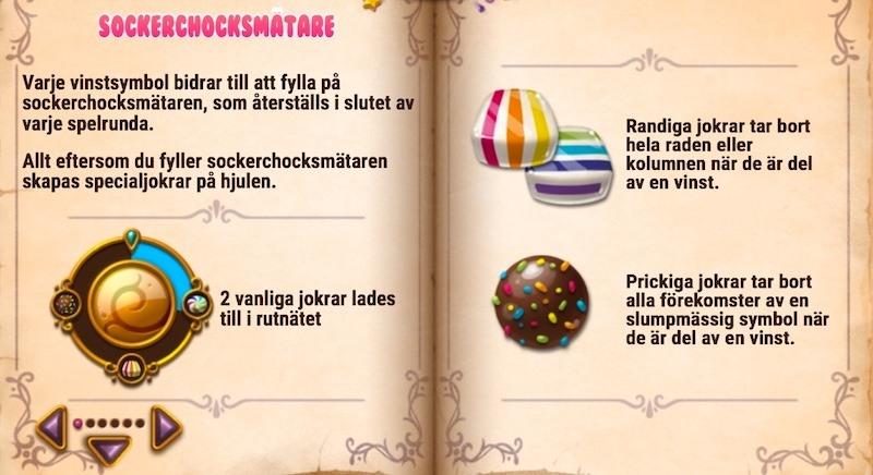 spelregler för Sweet Alchemy visas som två sidor av en gammal bok med färgglada ikoner