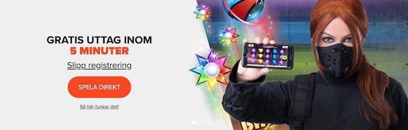 Reklam från Ninja Casino med en tjej i ninjautklädnad som håller upp en mobil med Starburst