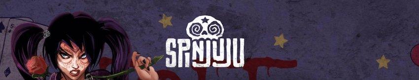 Logo för Spinjuju Casino med en ilsken kvinna i bakgrunden med markeringar i ansiktet