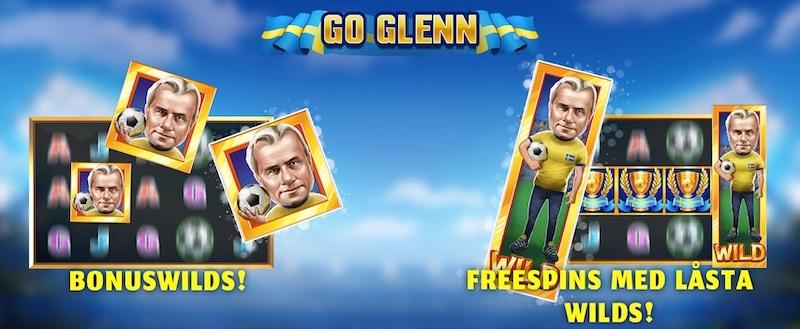 Tillgängliga funktioner i Go Glenn-slotspelet visar Bonus Wilds och Free Spins med låsta Wilds tillsammans med den tecknade karaktären