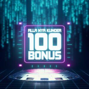 Hajper annonserar att alla nya kunder får 100 i bonus med ett futuristiskt tema i neonljus