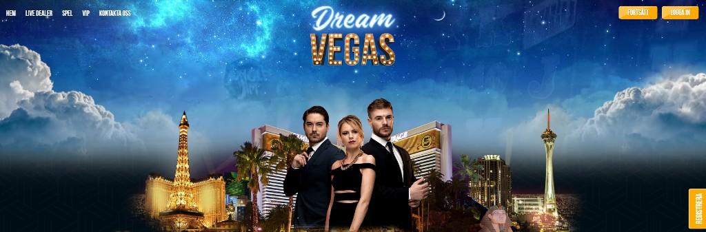 DreamVegas hemsida visar två män och en kvinna stiligt klädda i svart med Las Vegas i bakgrunden