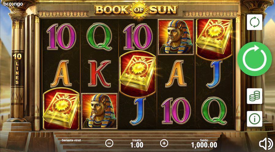 Spelplanen för slotspelet Book of Sun har ett egyptiskt tema med bland annat en farao som symbol