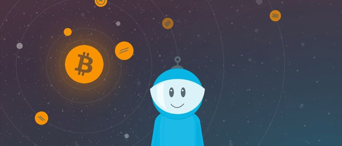 en blå och glad figur som står framför fallande bitcoin-mynt