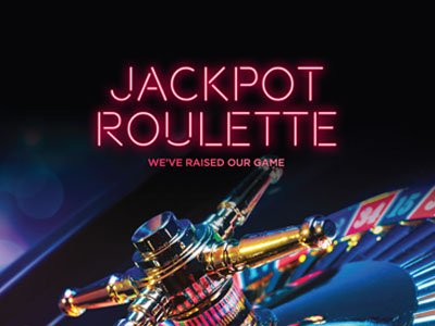 Jackpot roulette neon banner with roulette wheel in background