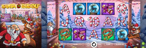 Spelplanen och symboler i slotspelet Santa vs Rudolf