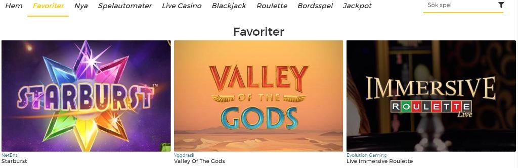 Överblick av spelkategorin hos Pronto Casino med utvalda titlar tillsammans med övriga kategorier