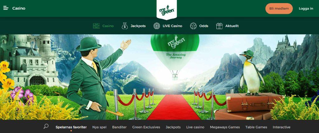 Förstasidan hos Mr Green Casino med huvudmeny och spelkategorier