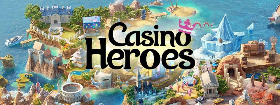 Casino Heroes logo framför en tecknad ö med olika byggnader lik ett sagoäventyr