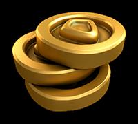 tre guldmynt staplade på varandra