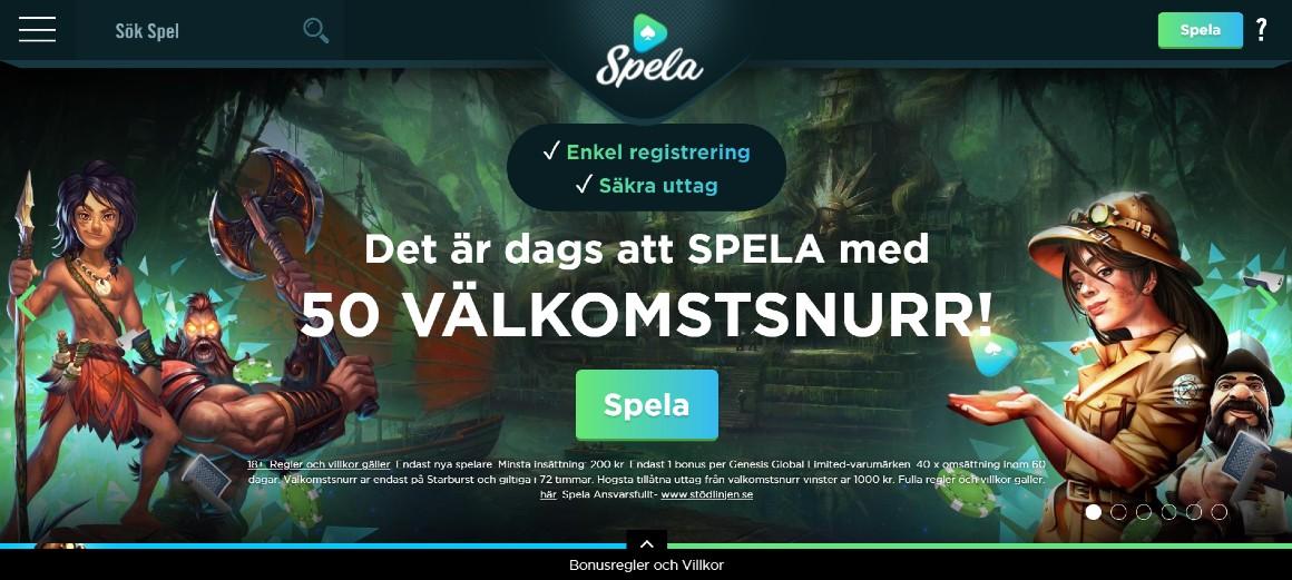 Spela.com hemsida med nuvarande välkomstbonus