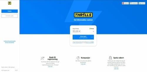 thrills casino landing page
