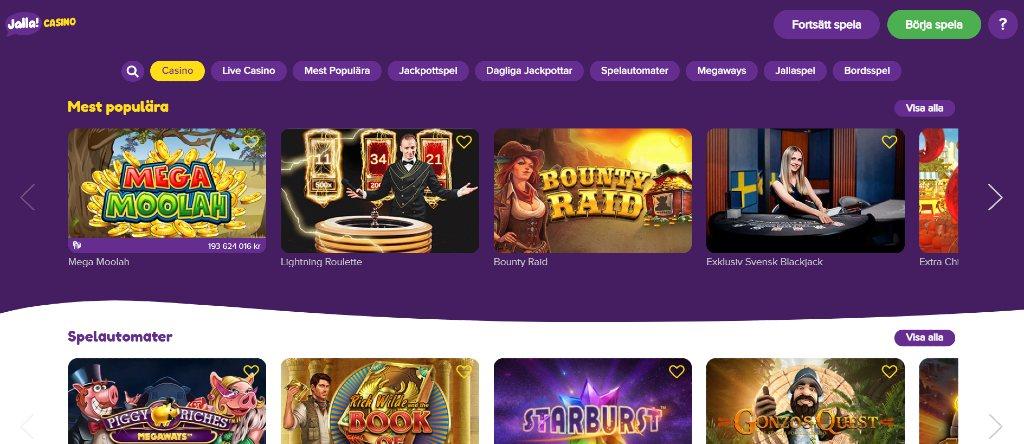 Jalla casino webbplats och med huvudmeny och utvalda speltitlar