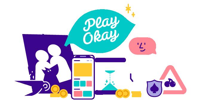 Play Okay-logo med olika symboler från Casumo casino