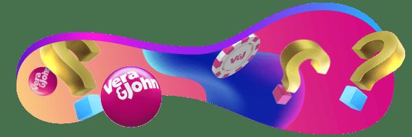 Rosa bollar med Vera&John-logon som studsar runt tillsammans med frågetecken och spelmarker