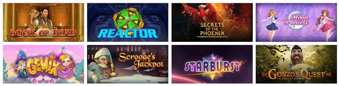 Olika slotspel tillgängliga hos Jackpotjoy casino