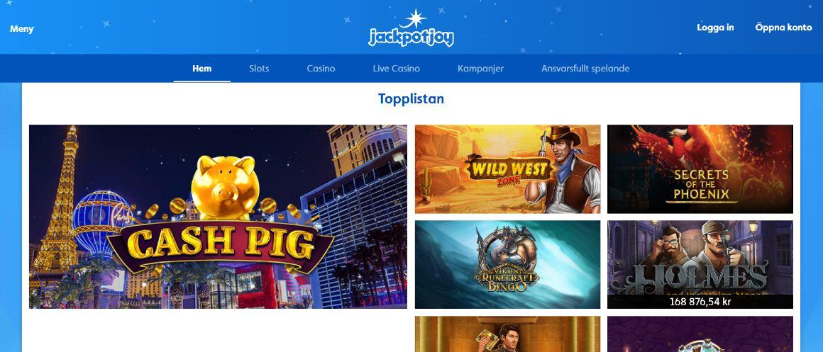 Jackpotjoy hem med huvudmeny och populära casinospel