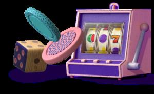 En liten landbaserad slotmasking, tärning och två spelmarker i lila och rosa