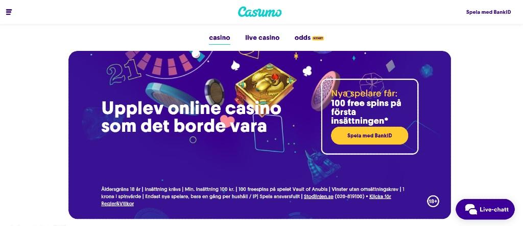 Förstasidan hos Casumo Casino med deras nuvarande erbjudande och spelkategorier