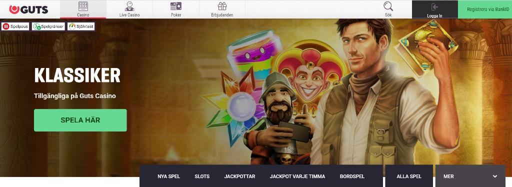 Överblick över Guts casino-flik med oika spelkategorier att välja mellan och en bild på spelkategoerier som Gonzo och Rich Wilde