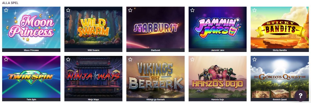 Några slotspel erbjudna på Guts Casino, som bland annat Starburst och Moon Princess
