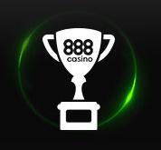 vit prispokal med texten 888 casino på en svart bakgrund