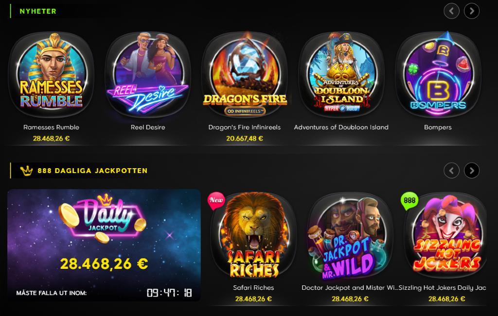 ett urval av alla spel på 888 casino som visar slotspel och dagliga jackpottar
