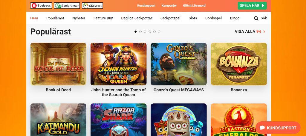 Leo vegas hemsida är klädd i orange och visar huvudmenyn tillsammans med populära spel