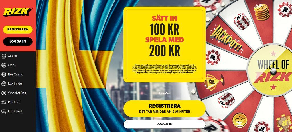 Först sidan på Rizk.com visar huvudmenyn och den nuvarande välkomstbonusen tillsammans med den svenska flaggan och Rizk-hjulen