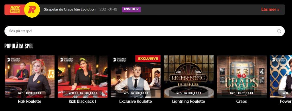 Live casino hos Rizk casino med sökfunktion och populära live casino-spel med bilder på dealers och insättningsgränserna