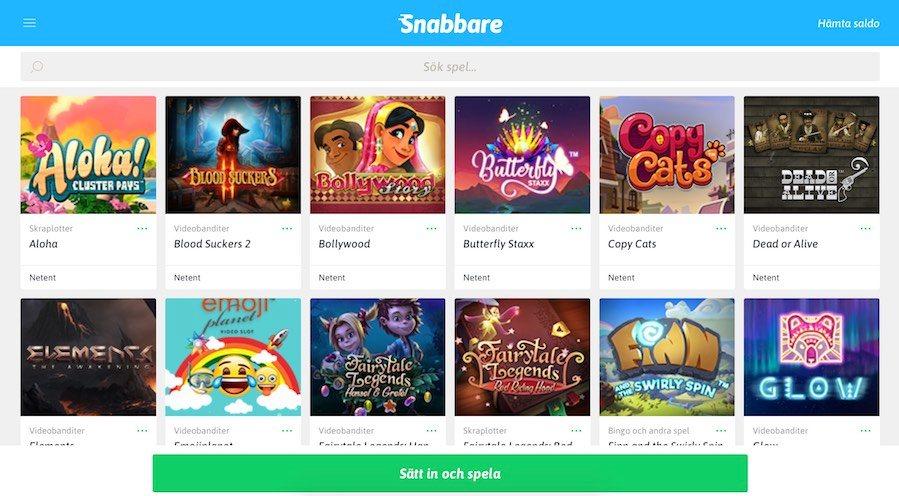 överblick över spelutbudet på snabbare casino som visar olika slotspel