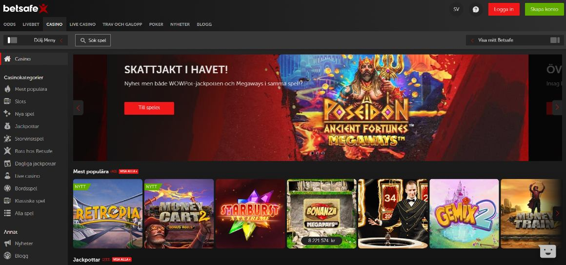 Betsafe casino hemsida