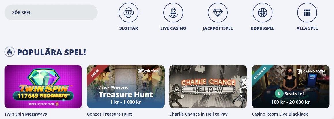 Spelkategorier hos casinoroom.com