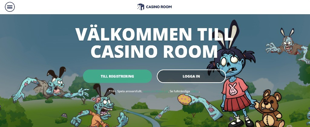 Casinorooms hemsida välkomnar spelare och visar tecknade zombiekaraktärer i bakgrunden