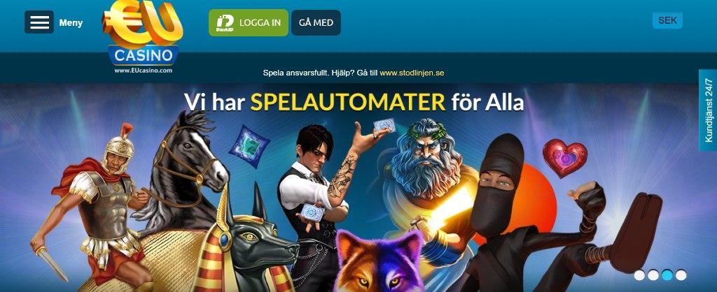 Eu Casino-hemsida visar bland annat login-knapp, kundtjänst och olika karaktärer från spel