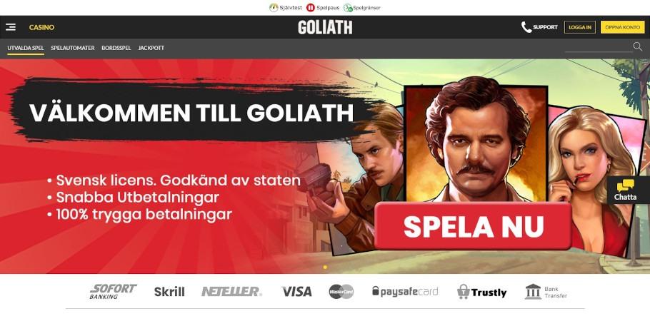 Narco välkomnar svenska spelare från deras hemsida och visar även bild från spelet Narcos
