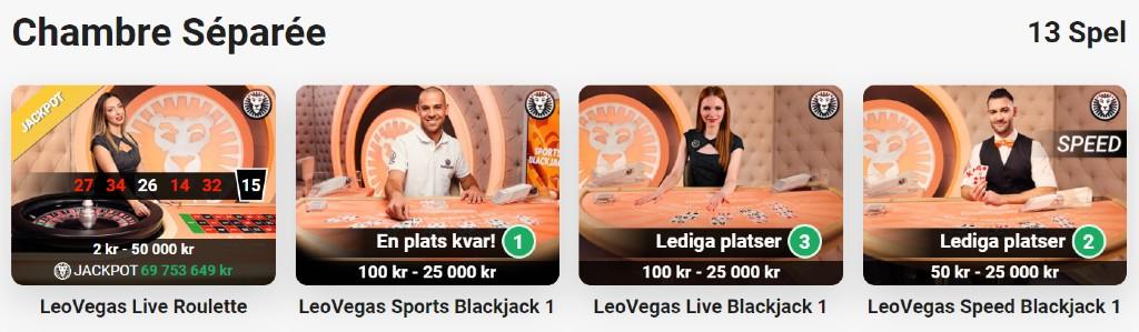 Urval av live casino-bord från kategorin Chambre Séparée hos LeoVegas casino